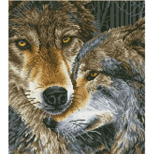Diamond dotz - Tendres loups 50 x 55 cm